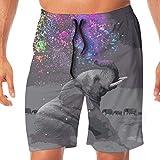 Elefantes de Colores Pantalones Cortos de Encaje elástico de Secado rápido Pantalones Cortos de Playa Pantalones de ba?o Traje de ba?o con Bolsillos. L