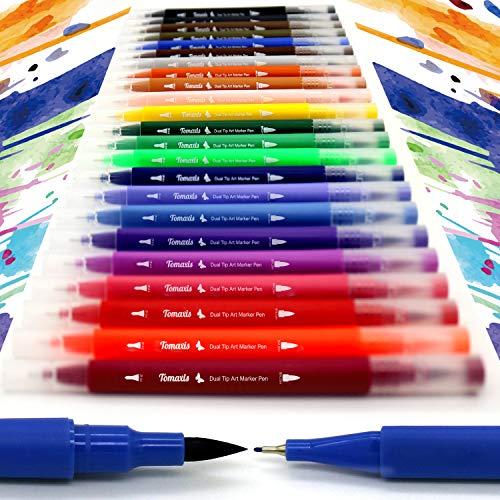 24 pennarelli con doppia punta pennello, con punta fine da 0,4 mm e punta brush, per bullet journal, colorare e disegnare Pen