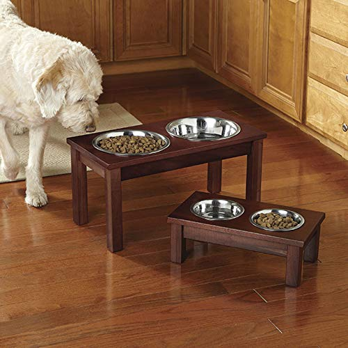 Orvis Elevated Wooden Feeder/Small, Dark Cherry, Small