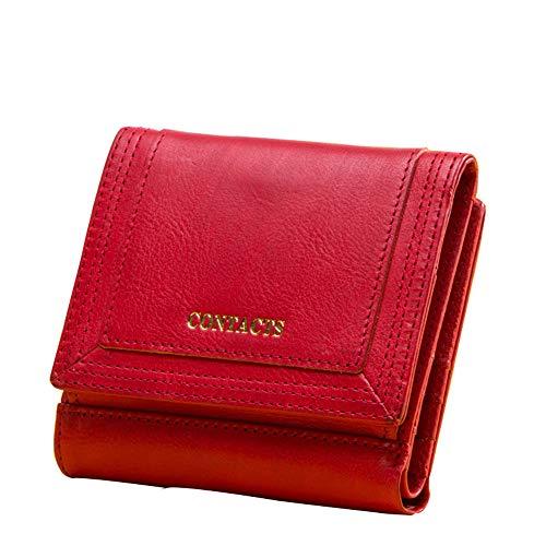 GHYDDC Lederen Portemonnee voor Vrouwen, Dames Leuke Kleine Compacte Bifold Pocket Credit Card Houder Portemonnee voor Vrouwen Rood