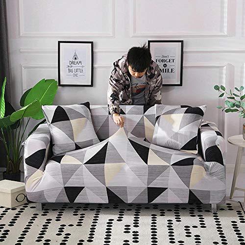 bank hoes, antislip stretch bank hoes, lederen bank hoes-zwart-grijze geometrie_ enkele stoel 90-140 cm, antislip beschermer voor meubelbank