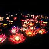 LEDMOMO LED schwimmende Lotus Laterne Wishing Seerose künstliche Kerze Blume Laternen Pool Dekor...