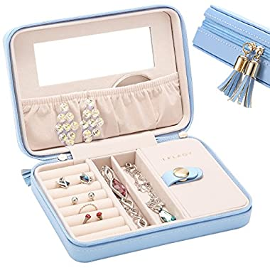JL LELADY Small Jewelry Box Portable Travel Jewelry Case Organizer Faux Leather Storage Holder with Mirror for Earrings Rings Necklaces, Gifts for Women Girls Middle Size (Sky Blue)