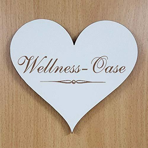 Shabbyschild Holzschild Schild Herz WELLNESS OASE 13 x 12 cm Hinweisschild Schriftzug selbstklebend Türschild Dekoschild Zimmerschild