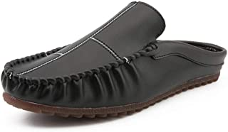 HaiNing Zheng Mules for Men PU Leather Business Indoor Loafers Walking Shopping Outdoor Casual Anti-Slip Slip-on Round Toe Clogs Backless Vegan (Color : Black, Size : 7.5 UK)