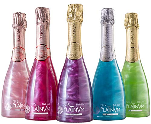 Pack vinos espumosos Platinvm con extractos de frutas y flores 37,5cl- ideal Navidad, cumpleaños, carnaval, fiesta, celebración, boda, Halloween