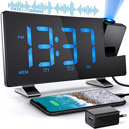 Projektionswecker digitaler Wecker mit USB-Anschluss Radiowecker 12 / 24H Projektionsanzeige 2 Weckalarme 10 Lautstärkestufen 180° Projektor 4 Projektionshelligkeit Schwarz