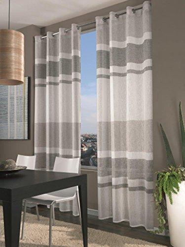 Home Collection FAS129 Tenda Fascia, Poliestere, Grigio, 140x290 cm
