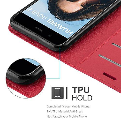 Cadorabo Hülle für Huawei NOVA 2 - Hülle in Karmin ROT – Handyhülle mit Kartenfach und Standfunktion - Case Cover Schutzhülle Etui Tasche Book Klapp Style - 4
