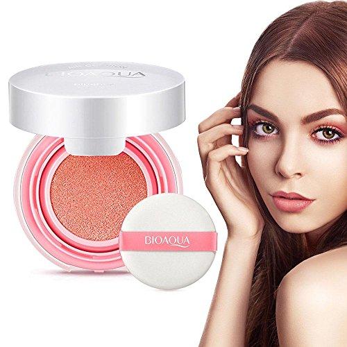 Wasserdichte Blusher Luftpolster BB Creme Make-up Paste Nude Rouge Creme Rouge Powder mit Blush Schwamm(Orange)