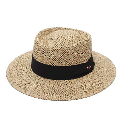 GEMVIE- Sombrero Canotier Mujer Sombreros de Paja Hombre Verano ala Ancha Panama Proteción UV Sol para Playa Unisex