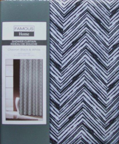 Famous Home Fashions Black & White Chevron Fabric Shower Curtain