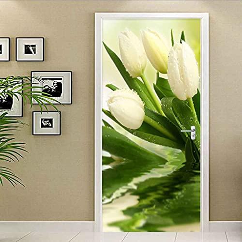 NXCNTD Calcomanías de las puertas en 3D Flores de plantas blancas 77x200cm Vinilo Impermeable Extraíble Murales de Papel Decorativos Para el Hogar Baño Sala de estar Dormitorio Decoración
