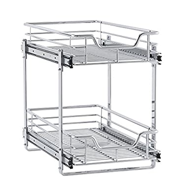 Household Essentials C21221-1 Glidez 2-Tier Sliding Organizer - Dual Pull Out Cabinet Shelf - Chrome - 11.5 Inches Wide
