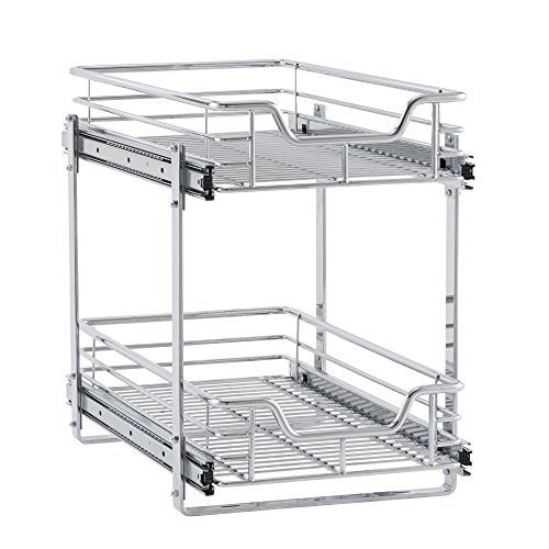 Household Essentials C21221-1 Glidez 2-Tier Sliding Cabinet Organizer, 11.5' Wide, Chrome