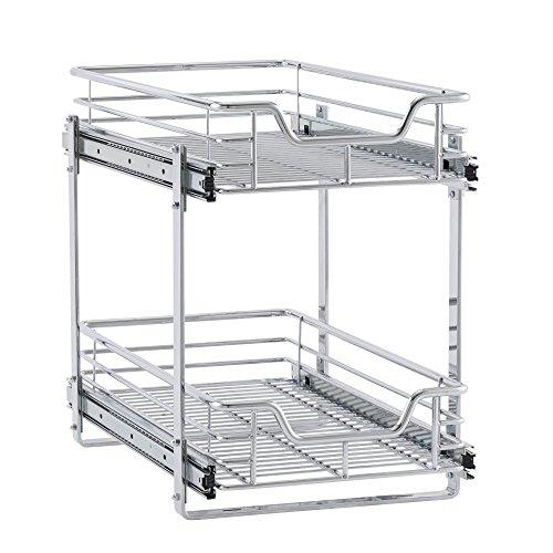 """Household Essentials C21221-1 Glidez 2-Tier Sliding Cabinet Organizer, 11.5"""" Wide, Chrome"""
