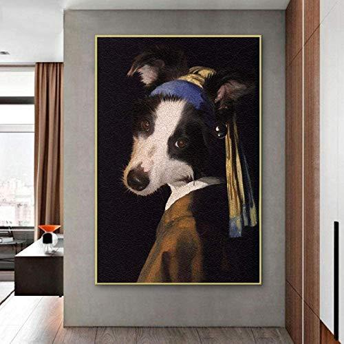 SXXRZA Cuadro de póster 60x80 cm sin Marco Chica de Arte Divertido con Pendientes de Perlas Pintura de Arte de Pared Retrato de Perro Arte Impresiones en Lienzo decoración de la Sala de Estar