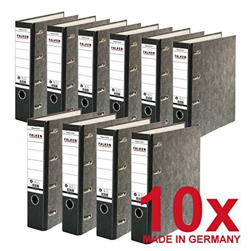 Original Falken 10er Pack Recycling-Doppelordner Wolkenmarmor. Made in Germany. 7 cm breit schwarz für 2x DIN A5 quer Ablage mit geklebtem Rückenschild Kontoauszug-Ordner Blauer Engel