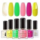BORN PRETTY Neon Nail Polish Set Fluorescence Varnish 4 Colors Nail Kit with Matte Top Coat and Avocado Base Coat 6ml Each Bottle