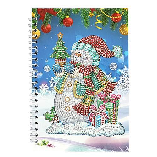 Libro de línea de diamantes de Navidad, anillo lateral de papel blanco, con calendario, 50 páginas, tamaño A5, parte de diamante en forma de diamante