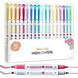18 Subrayadores Color Pastel de SmartPanda – Rotuladores Fluorescentes de Dos Puntas, Gruesa y Fina – Juego de 18 Colores Variados