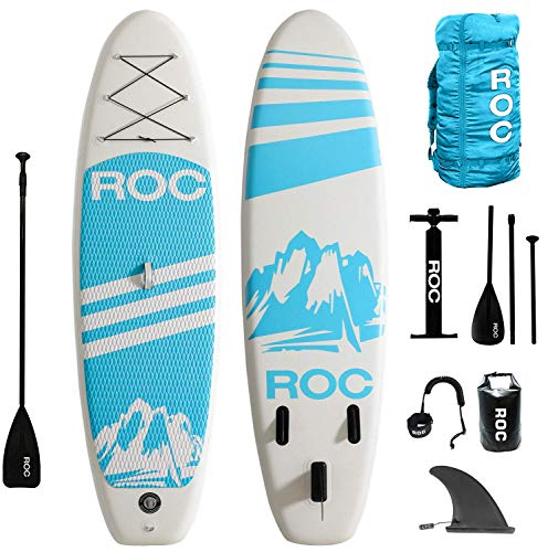 Roc Inflatable Stand Up Paddle Boards W Free Premium SUP Accessories & Backpack { Non-Slip Deck } Bonus Waterproof Bag, Leash, Paddle and Hand Pump !!! Youth & Adult (Blue) (Renewed)