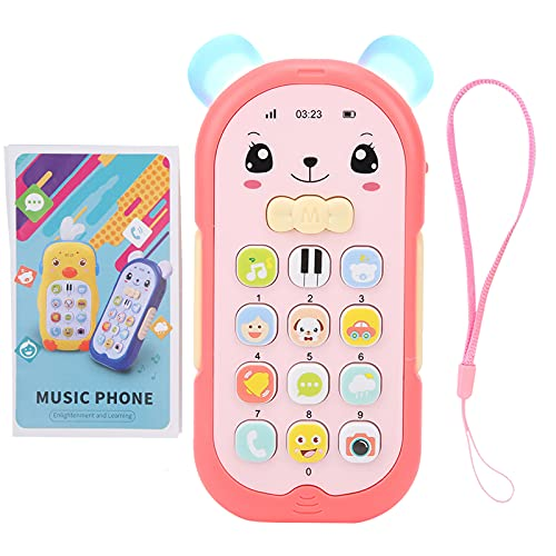 Zerodis Juguete para teléfono con simulación de bebé, música multifunción Efecto de luz Sonido teléfono móvil para niños Juguetes educativos para niños de más de 6 Meses de Edad(Rojo)