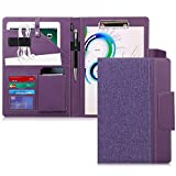 Toplive A4 Leather Conference Folder Business Padfolio with A4 Writing Pad, Card Holder, Tablet Sleeve(Up to 10.5 Tablet), Portfolio Binder for Business School Office Conference,Purple