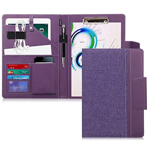 Toplive - Portfolio A4 de piel sintética con tapa y tarjetero magnético para reuniones, oficinas, tarjetas de visita profesionales, carpeta de conferencias, color morado