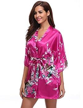 Aibrou Women s Kimono Robe Satin Peacock Bathrobe Short Silk Bridal Robe Rose Red