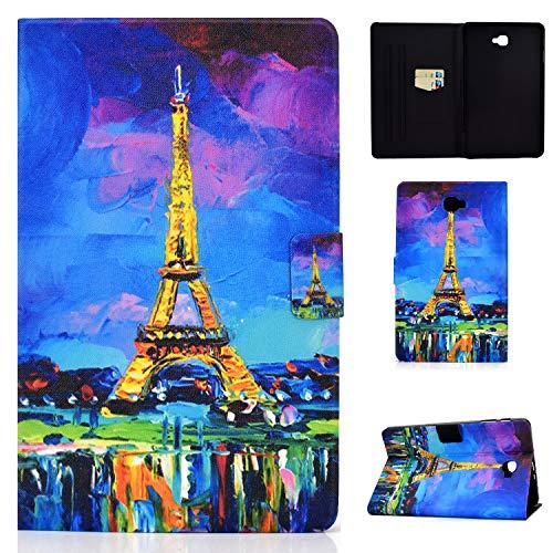 Auslbin Funda para Samsung Galaxy Tab A 10.1' T580/T585 Tablet,Ultra Slim PU Cuero Funda Flip Casos con Función de Soporte,con Auto Estela/Sueño y Ranuras de Tarjetas,Torre Eiffel