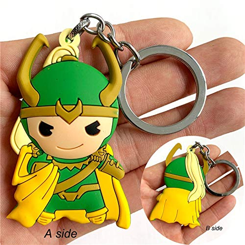 Neaer Key Chains Cute Loki Thor Key Ring Anime Cartoon Key Chain Key Holder Accessories Trinkets Cosplay Itabag Keychain Silicone Cartoon keychain (Color : B)