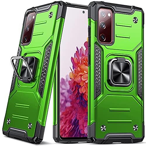 DASFOND Armor Hülle für Samsung Galaxy S20 FE 5G/4G Hülle Militärische Stoßfeste Handyhülle [Upgrade 2.0] 360 ° Ständer Cover für Auto Magnet,Gras-Grün