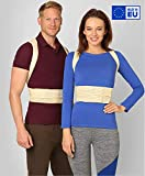 Simple and Reliable - Upper and Middle Back Posture Corrector for Men and Women by BeFit24 - with Metallic Inserts for Additional Strong Support - Size 2 - Beige
