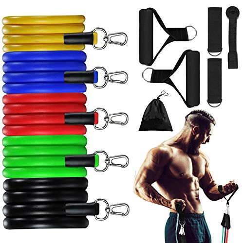 Sbun Resistance Bands Set, 11pcs Portable Stackable Workout Bands with Door Anchor, Up to 100 Lbs Ankle Straps Carrying Case Exercise Stretch Fitness Home Set