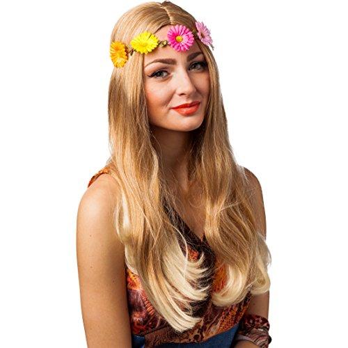 NET TOYS Bandeau pour Cheveux Fleuri | Bandeau avec des Fleurs | Accessoire Cheveux Flower Power | Bijou de Cheveux années 60