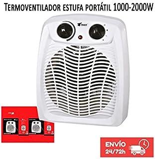 Calefactor Estufa Termoventilador portatil 1000-2000W Termostato regulable. Protección contra sobrecalentamiento. Función de aire frío.