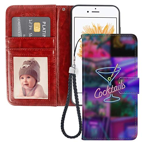 iPhone 5c Wallet Case Cocktail PU Leather Full Body Phone Case with Card Slot for iPhone 5c for Women