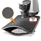 Heimwert Katzenklo Matte Katzenstreu Katzenmatte - Nur für die beste Fellnase - Wasserdichter Premium Vorleger für die Katzentoilette I Katzen Katzenstreu Teppich Katze Klo cat litter mat (76*61cm)