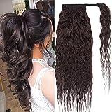 18'(45cm) SEGO Coleta Postiza Rizada Pelo Natural [#1B Negro Natural] 100% Remy Extensiones de Cabello Humano Clip Corn Wave Ponytail Hair (90g)
