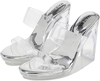 Transparent Chunky Heel High Heel Women's Sandals