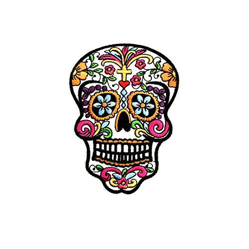 FabStix Sugar Skull Iron on Patch or Sticker Applique for Kids Womens Mens Clothing Jeans Jacket Caps Bags Lapel, Medical Grade and Latex Free
