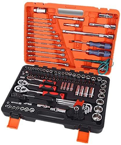 TONGSH Auto-Reparatursatz, Mechaniker-Werkzeug-Set 121-teilig, Haushalts-Werkzeug-Kit mit Werkzeug-Kasten-Kasten for Männer und Frauen.