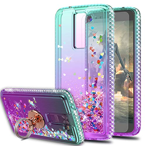 LG Tribute 5 Case,LG Escape 3/LG Treasure/LG Phoenix 2 Case with HD Screen Protector With Ring Holder,KaiMai Glitter Moving Quicksand Clear Cute Shiny Girls Women Phone Case For LG K7-Aqua/Purple Ring