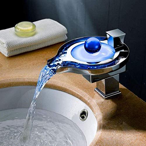 Chrom Chrom, modern, warm und kalt, Einhandbedienung, Badezimmer, Waschbecken Waschbecken Wasserhahn, beleuchtete LED, dreifarbige Dimmung, Wasserfall Wasserhahn