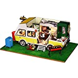 Joycaling DIY Casa De Muñecas De Madera Casa de muñecas de Madera de Bricolaje Kit de Miniatura de Caravana Modelo de Muebles de Caravana niños Cumpleaños para Niño