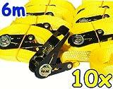 10 correas tensoras con trinquete 6 m 0,8 t EN-12195-2 amarillas amarillas 6 m