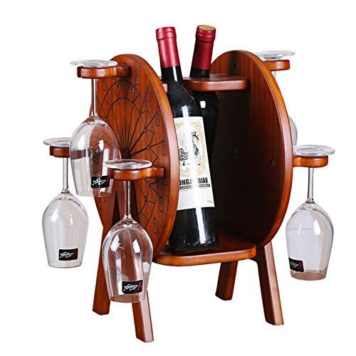 Fanuosuwr Carcasajero de Vino Práctico Estante de Vino Violín Violín Botella de Vino Soporte de Vino y Copa de Vidrio Colgando Rack Decorativo Webware Regalo (Color : Marrón, Size : Medium)