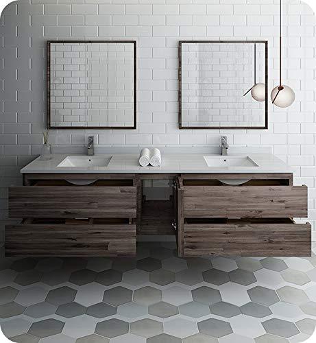 """Fresca Formosa 84"""" Wall Hung Double Sink Modern Bathroom Vanity w/Mirrors"""