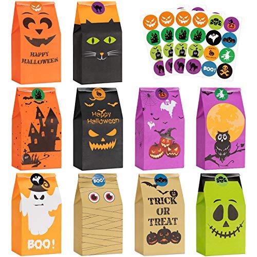 Halloween Süßigkeit Taschen Behandelt Taschen - 50 Stück Kinder Halloween Candy Taschen für Süßes oder Saures + 60 Stück Halloween Aufkleber, Mini Papier Geschenkbeutel , Halloween Goodie Taschen